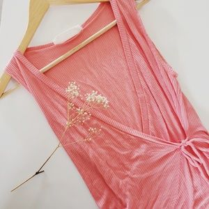 Tops - Ribbed Wrap Tank Peach/Coral